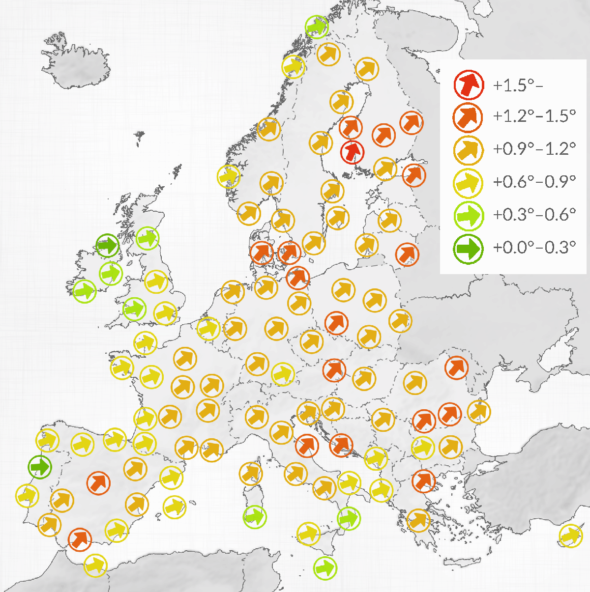 Map showing temperature differences in selected European cities, between 20th century and 21st century averages.